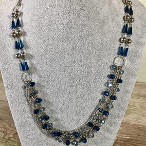 Absolutely necklace multi-strand blue iridescent